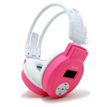 Casque sans fil lecteur mp3 rose - idée cadeau