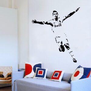 stickers mural foot Ronaldo idée cadeau pour chambre d' enfant