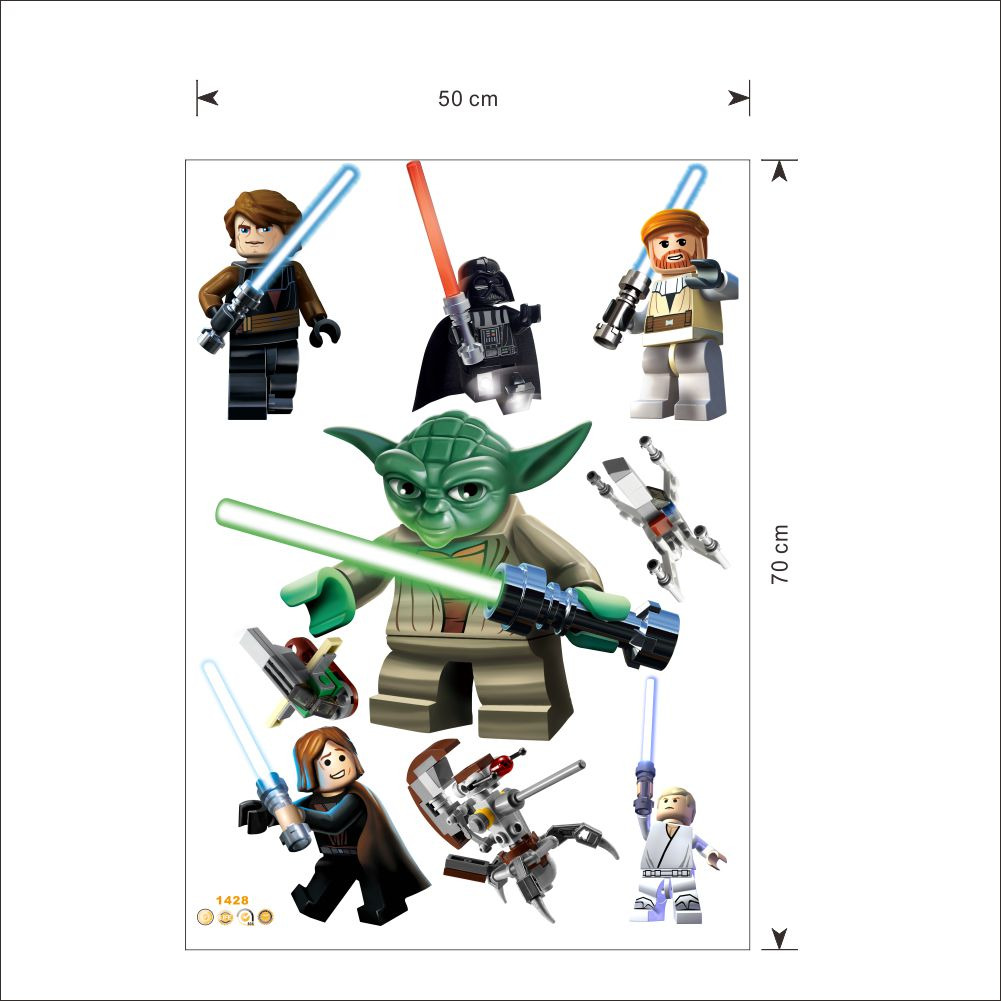Despcriptif des stickers muraux Lego YODA et ses amis