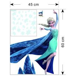 sticker mural elsa reine des neiges repositionnable 60 x 45 cm. Black Bedroom Furniture Sets. Home Design Ideas