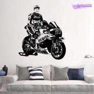 Sticker mural Marc Marquez Honda Moto GP MM93 stand