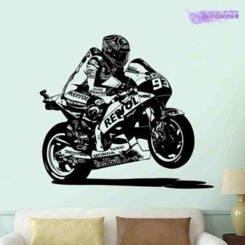 Sticker mural Marc Marquez Honda Moto GP MM93