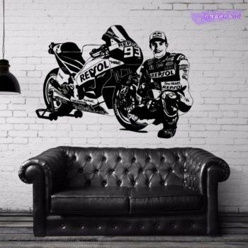 Sticker mural Marc Marquez Honda Moto GP MM93 -XL-